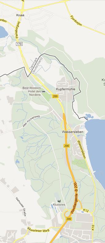 GoogleMaps fra Kruså til K10
