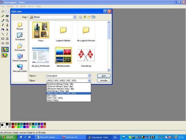 Paint JPEG format