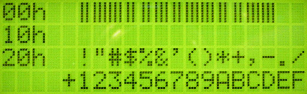 SparkFun Electronics LCD-09568 CharMap In Hex 00-2F