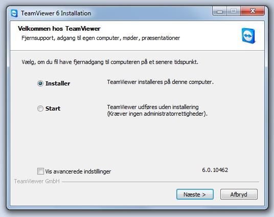 TeamViewer klik på Installer og derefter på Næste
