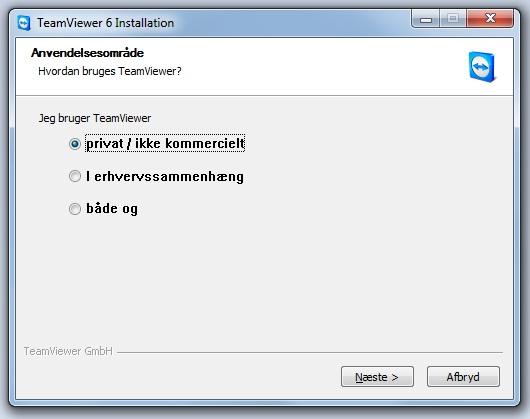 TeamViewer klik på privat / ikke kommercielt og derefter på Næste
